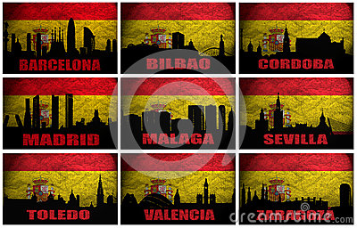 Collage of famous Spanish cities