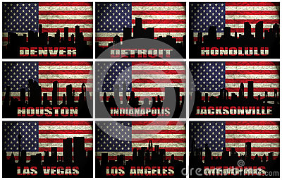 Collage of famous USA cities from D to M