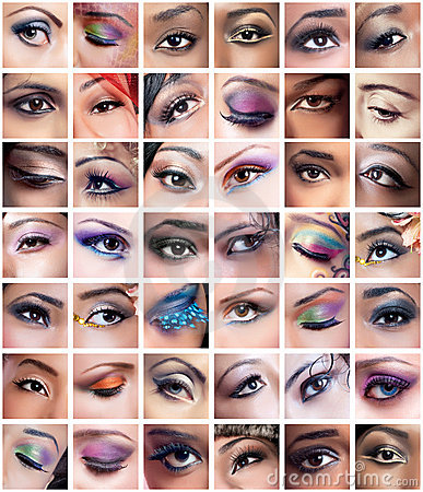 Collage of female eyes images with creative makeup