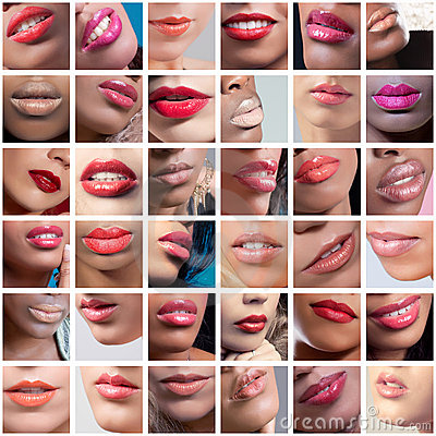 Collage of female lips images, ethnicities mix