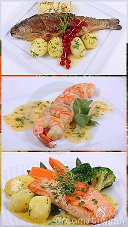 Collage of a fine dining meal