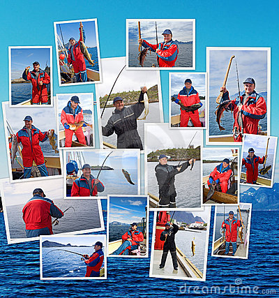 Collage of fishing in Norway