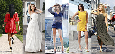 Collage of five beautiful models in colored summer dresses Stock Photo