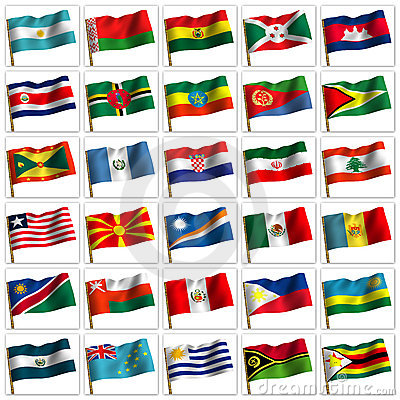 Collage from flags of the different countries.