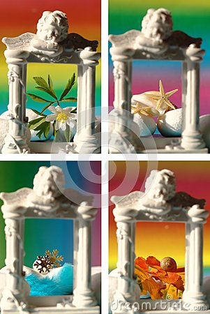Collage with four seasons in photo frame