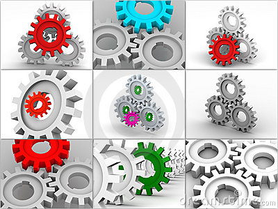 Collage from gears. icons.