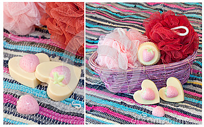 Collage with handmade strawberry soap