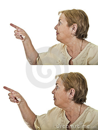 Collage happy and worried senior woman pointing