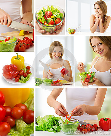Free Collage. Healthy Food, Fresh Vegetables Stock Photos - 25091753