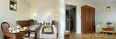 Collage of hotel suite rooms