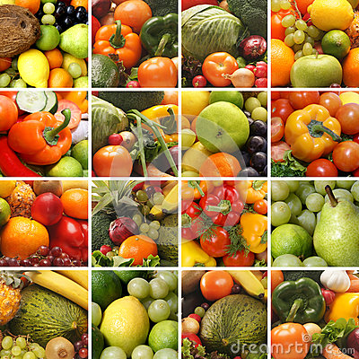 A collage of images with fruits and vegetables
