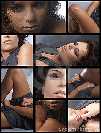 Collage of images with a young brunette
