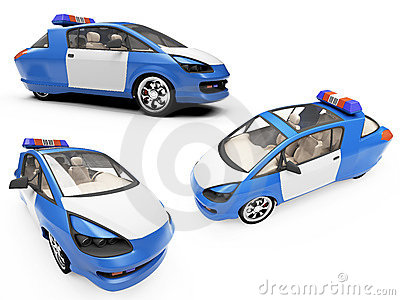 Collage of isolated concept police car