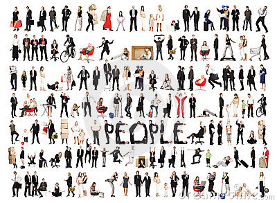Collage of isolated people