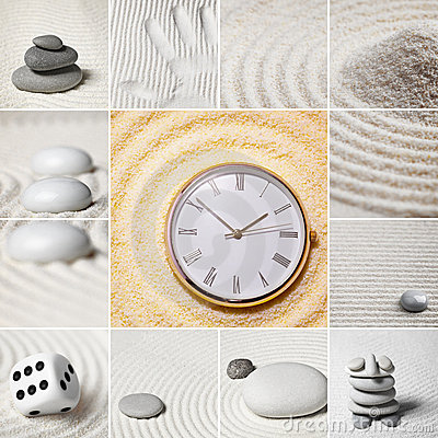 Free Collage - Japanese Garden Of Stones. Time. Royalty Free Stock Photos - 14048198