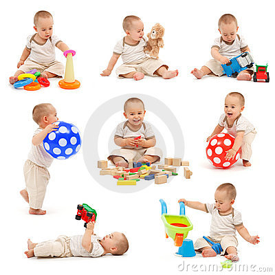 Collage of a little boy playing