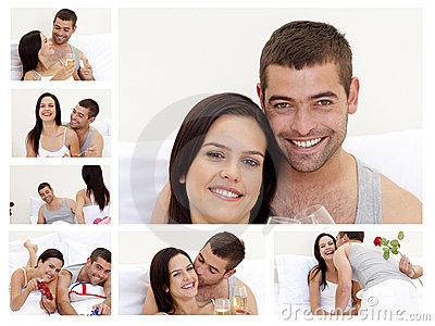 Collage of a lovely couple enjoying the moment