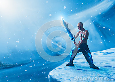 Collage of man with a sword in winter