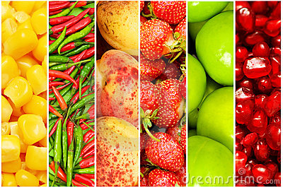 Collage of many different fruits