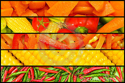 Collage - many fruits and vegetables