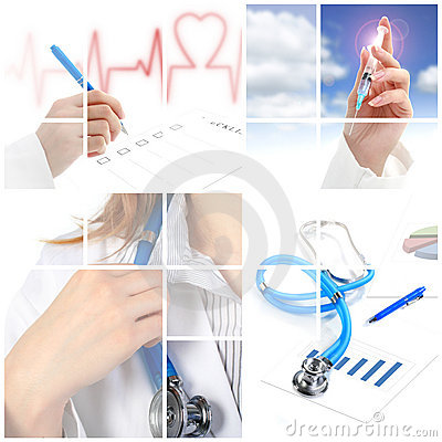 Collage. Medical concept over white background.