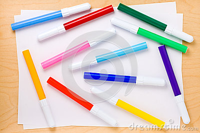 Collage of Multicolored Felt-tip Pens
