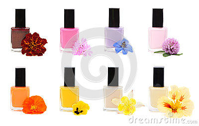 Collage Nail polish with flower