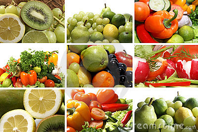 A collage of nine nutrition theme images