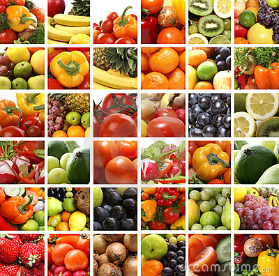 A collage of nutrition images with fresh fruits