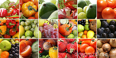 A collage of nutrition images with healthy fruits