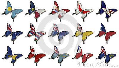 Collage from Oceania flags on butterflies
