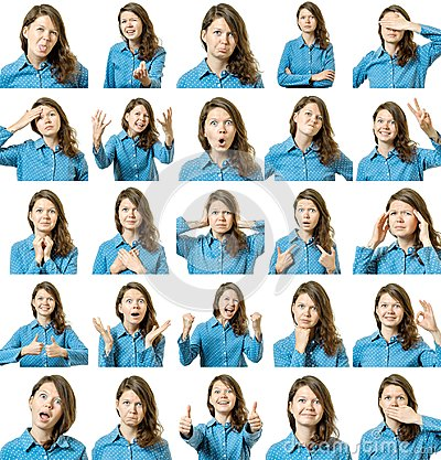 Free Collage Of Beautiful Girl With Different Facial Expressions Stock Photos - 102933463
