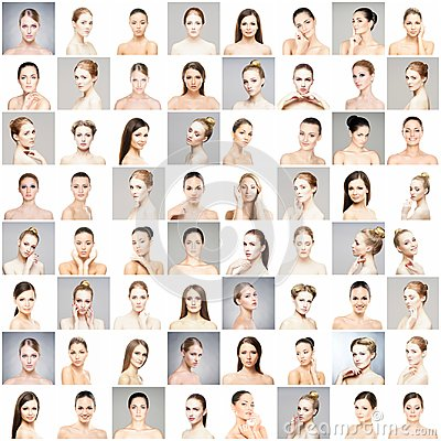 Free Collage Of Beautiful, Healthy And Young Spa Female Portraits. Faces Of Different Women. Face Lifting, Skincare, Plastic Stock Photography - 119176232