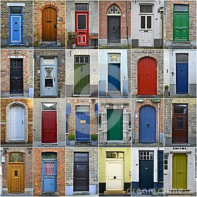 Free Collage Of Colorful Doors In Bruges, Belgium Royalty Free Stock Image - 110324136