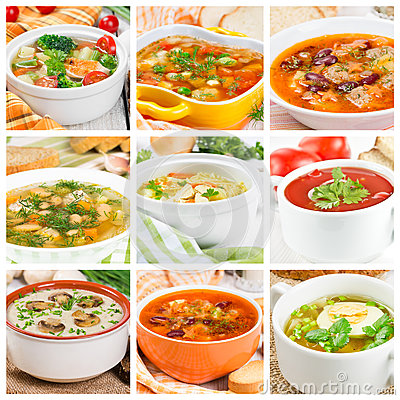 Free Collage Of Different Soups Stock Photo - 51443990