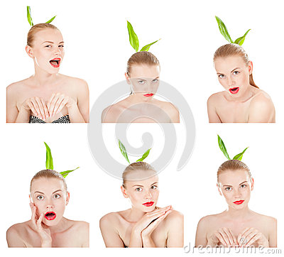 Free Collage Of Emotions. Girl Performing Various Expressions With Her Face. Stock Photos - 31145363