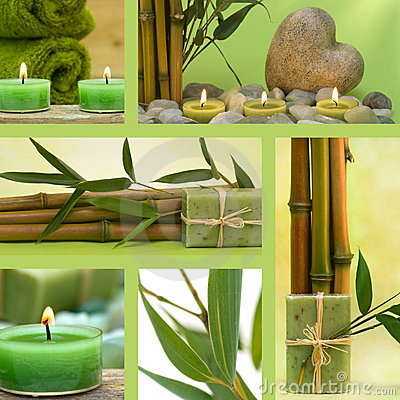 Free Collage Of Green Wellness Motives Stock Image - 18395151