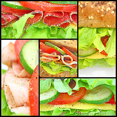 Free Collage Of Many Different Fresh Sandwichs Royalty Free Stock Image - 13648736