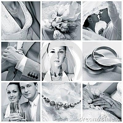 Free Collage Of Nine Wedding Photos Royalty Free Stock Photography - 17121237