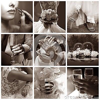 Free Collage Of Nine Wedding Photos Royalty Free Stock Photography - 6742317