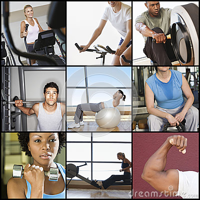 Free Collage Of People Exercising In Gym Royalty Free Stock Photos - 45826408