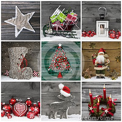Free Collage Of Several Different Colorful Christmas Decoration On Wo Royalty Free Stock Photography - 44833137