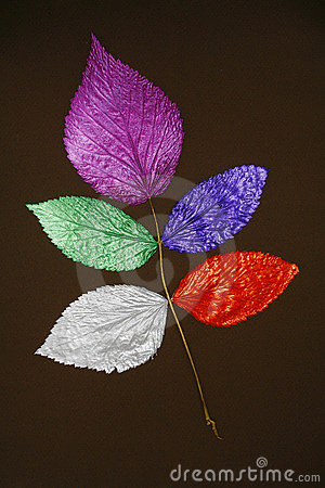 Collage of painted leaves