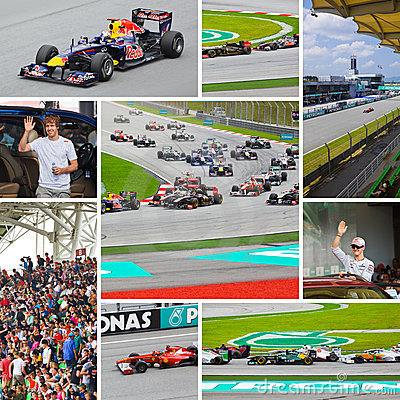Collage of photos of Formula-1 Editorial Image