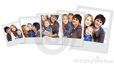 Collage photos of young family