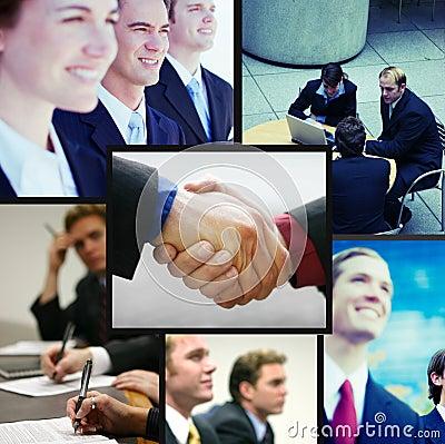 Collage positivo di affari