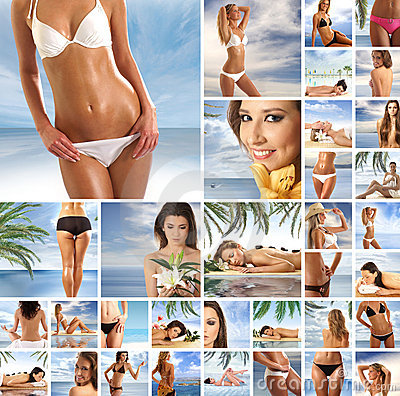 A collage of resort images with young women