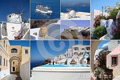 Collage of Santorini island