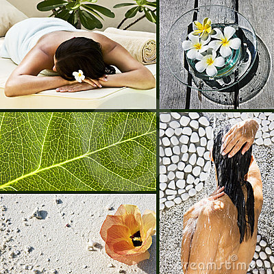 Collage of several photos for spa concept