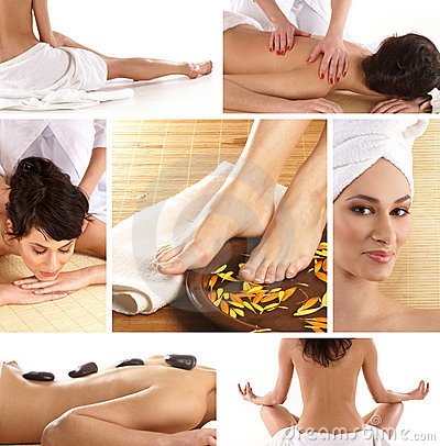 A collage of spa treatment images with a woman